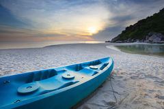 Blue sea kayak on the beach Stock Photography
