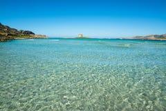 Blue sea in La Pelosa beach. Sardinia Stock Photography