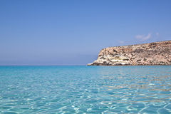 Blue sea of Lampedusa, Sicily. royalty free stock image
