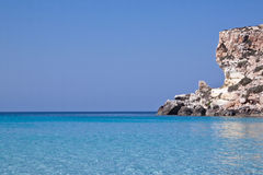 Blue sea of Lampedusa, Sicily. Royalty Free Stock Photography
