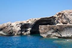 Blue sea of Lampedusa, Sicily. Beautiful blue sea of Lampedusa, Sicily, Italy stock photos