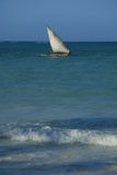 Blue sea landscape. A boat sailing on a clam blue sea Stock Photography