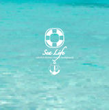 Blue sea life mosaic background Stock Photo