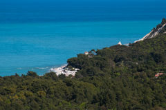 The blue sea of monte Conero Stock Photo