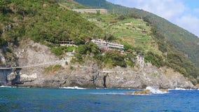 Blue sea and mountains with vine terraces in Monterosso al Mare