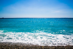 Blue sea in Nicea. Beautiful blue Mediterranean Sea in Nice, the French Riviera, Cote d Azur Royalty Free Stock Photos