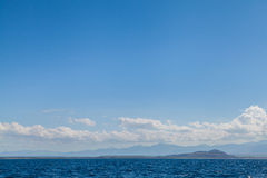 Blue Sea Ocean and Blue Sky Tropical Background Scenery Stock Photography