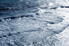Blue sea ocean waves detail Stock Photos