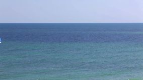 Blue sea, ocean with waves on the horizon stock video footage