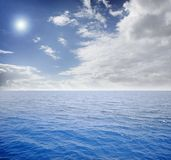 Blue sea and perfect sky. Caribbean blue sea and perfect sky at day Stock Photos