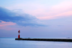 Blue sea on the pier. After the sunset Royalty Free Stock Images