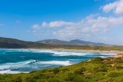 Blue sea in Porto Ferro shore Stock Photography