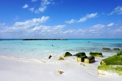 Blue sea. Relax, sea, sky, stone, moss, turkuaz, landscape, island, white beach, white sand, white Stock Images
