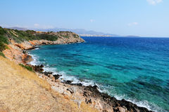 Blue sea with rocks on Crete, Greece Royalty Free Stock Images