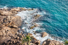 Blue sea and rocks. On Lighthouse beach in Kovalam, Kerala, India royalty free stock photos