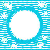 Blue sea round frame Royalty Free Stock Images