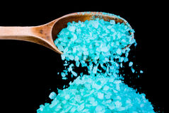 Blue sea salt crystals Royalty Free Stock Images