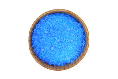 Blue sea salt in a wooden bowl Royalty Free Stock Image