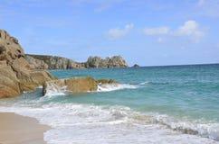 Blue sea. The blue seas of porthcurno royalty free stock photos