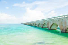 Seven Mile bridge in Florida Keys. The blue sea and the Seven Mile bridge on the Overseas Highway in Florida Keys, United States Royalty Free Stock Photos