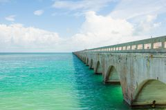 Seven Mile bridge in Florida Keys. The blue sea and the Seven Mile bridge on the Overseas Highway in Florida Keys, United States Stock Photography