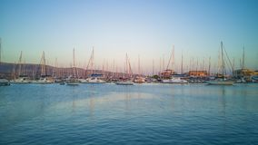 Blue sea and ships in Lefkada royalty free stock photos