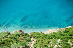 Blue sea and shore. Summer day on ocean Stock Photography