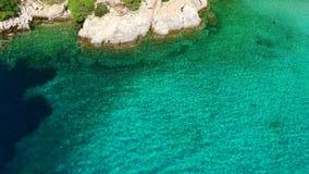 Sea shore under clear sky. Blue sea shore under clear sky stock footage