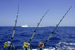 Blue sea and sky in a big game tuna fishing day Royalty Free Stock Images