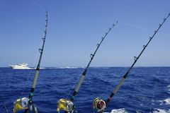 Blue sea and sky in a big game tuna fishing day Royalty Free Stock Photo