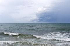 Blue sea with sky. Cloudy Stock Images