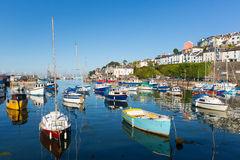 Blue sea and sky in Brixham Devon England during the heatwave of Summer 2013 Royalty Free Stock Image