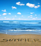Blue sea and sky in the foreground sandy beach. Stock Images