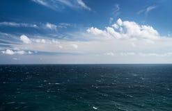Blue sea and sky, horizon line. Seascape. Blue sea and sky, horizon line Stock Photo