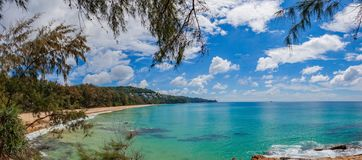 Blue sea blue sky in Naithon Beach. Naithon Beach is a quiet beach holiday at a mostly natural sandy beach with a relaxed royalty free stock photo