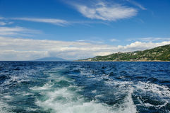 Blue sea and sky in a summer day near Sorrento Royalty Free Stock Image