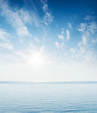 Blue sea and sky in sunset Stock Photography