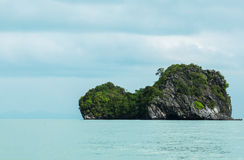 Blue Sea and Sky with Turtle like Shape Island at The Corner with Copyspace to input Text, Thailand Stock Photography