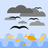 Blue sea and sky. Yellow fish swimming in the sea. Black birds are flying above them among dark grey clouds. Vector illustration vector illustration