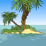 Small cartoon island with two palm trees Royalty Free Stock Images