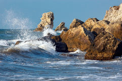 Blue sea storming royalty free stock photography