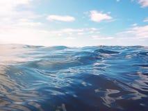 Blue sea and sun on sky. Blue sea Royalty Free Stock Photo
