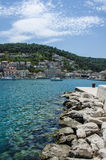 Blue sea and town Stock Photo