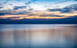Blue sea of tranquility at twilight Royalty Free Stock Photo