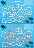 Blue sea turtle maze Royalty Free Stock Image