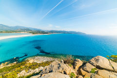 Blue sea in Villasimius shore Royalty Free Stock Images