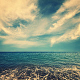 Blue sea water and beautiful clouds Royalty Free Stock Photo