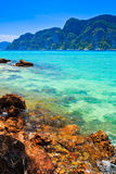 Blue sea water and island for relax time Royalty Free Stock Photo