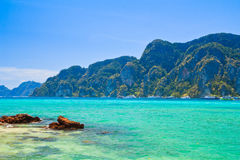 Blue sea water and island for relax time Royalty Free Stock Photography