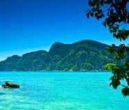 Blue sea water and island for relax time Stock Photography